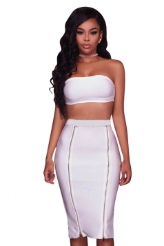 Womens Sexy Bandeau Top&Zipper Pencil Skirt Clubwear Dress White