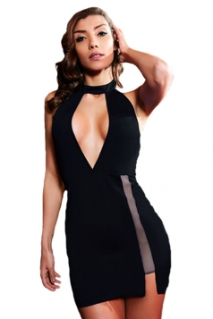 Womens Sexy High Slits Hater Cut Out Backless Clubwear Dress Black