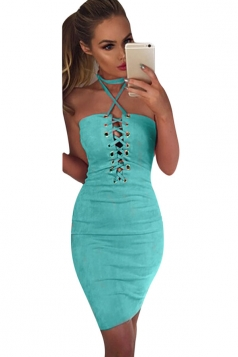 Womens Sexy Crisscross Lace-Up Slimming Club Wear Dress Blue