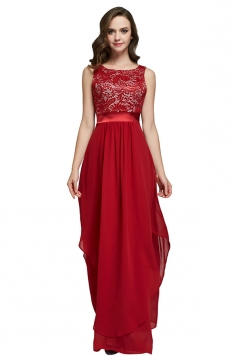 Womens Lace Patchwork Sleeveless V-Neck Back Maxi Dress Red