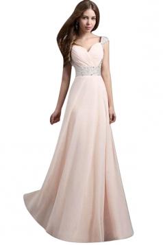 Womens V-Neck Rhinestones Patchwork Maxi Dress Evening Dress Pink