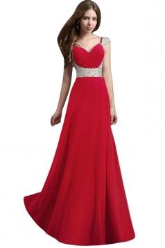 Womens V-Neck Rhinestones Patchwork Maxi Dress Evening Dress Red
