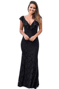 Womens Deep V-Neck Lace Ruffle Fishtail Slimming Evening Dress Black