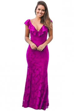 Womens Deep V-Neck Lace Ruffle Fishtail Slimming Evening Dress Purple