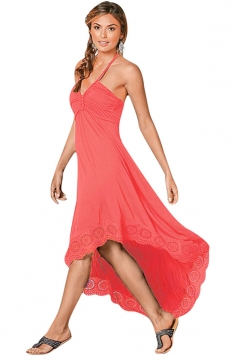 Womens Sexy Halter Deep V-Neck High Low Evening Dress Watermelon Red