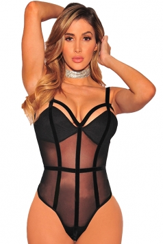 Womens Sexy Straps Backless Sheer Slimming Bodysuit Black