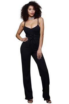 Womens Sexy Straps Lace Up High Waist Wide Legs Jumpsuit Black