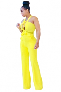 Womens Sexy Cut Out Lace-Up High Waist Wide Legs Jumpsuit Yellow