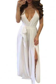 Womens Sexy Cross Straps Backless High Slits Jumpsuit White