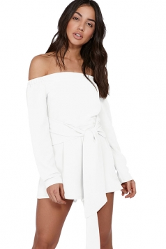 Womens Sexy Off Shoulder Long Sleeve Bandage Belt Romper White
