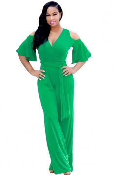 Womens Sexy Cold Shoulder V-Neck Draping Bandage Jumpsuit Green