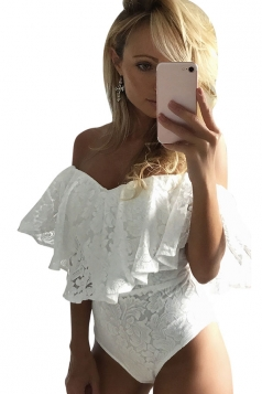 Womens Sexy Off Shoulder Ruffle Lace Bodysuit White