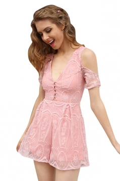 Womens Sexy Deep V-Neck Cold Shoulder Lace-Up Open Back Romper Pink