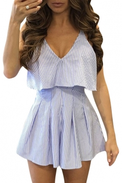 Women Deep V-Neck Straps High Waist Stripes Backless Romper Light Blue