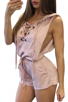 Womens Sexy V-Neck Lace-Up Hoodied Draw String Romper Pink