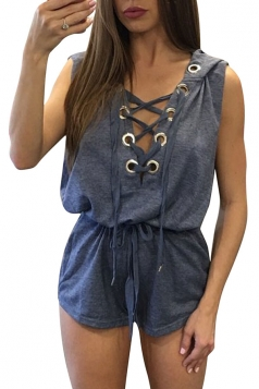 Womens Sexy V-Neck Lace-Up Hoodied Draw String Romper Navy Blue