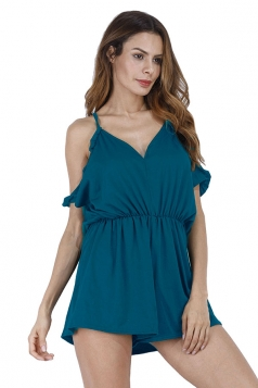 Womens Sexy Halter Cold Shoulder Ruffled Hollow Out Romper Blue