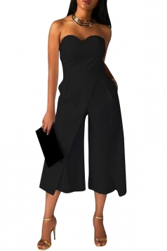 Womens Sexy Strapless Plain High Waist Wide Legs Jumpsuit Black