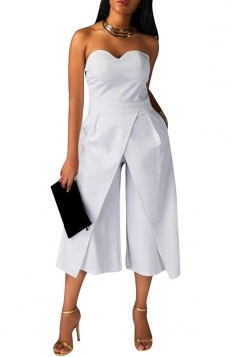 Womens Sexy Strapless Plain High Waist Wide Legs Jumpsuit White