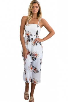 Womens Straps Floral Printed High Waist Wide Legs Jumpsuit White