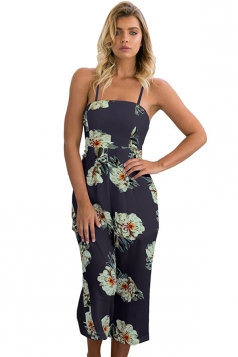 Womens Straps Floral Printed High Waist Wide Legs Jumpsuit Navy Blue