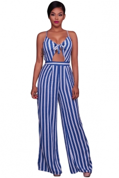 Womens Sexy Straps Stripe Printed High Waist Wide Legs Jumpsuit Blue