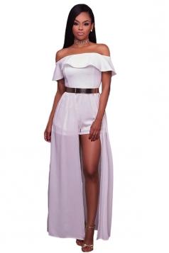 Womens Sexy Frill Off Shoulder Chiffon Maxi Romper Dress White