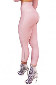Womens Sexy Close-Fitting Zipper High Waist Leggings Pink