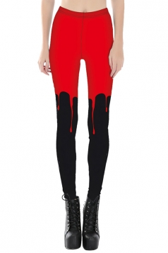 Womens Slimming Contrast Color Digital Printed Cropped Leggings Red