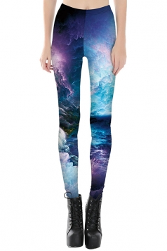 Womens Slimming Galaxy Printed Cropped Leggings Purple