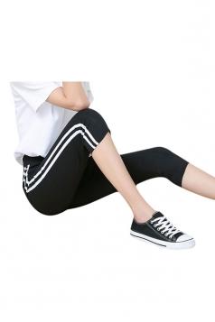 Womens White Vertical Stripe High Waist Cropped Leggings Black