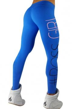 Womens Letters Printed Slimming Sports Wear Leggings Blue