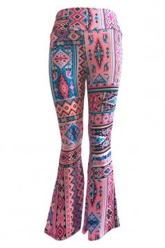 Womens Casual Printed High Waist Flared Pants Dark Red