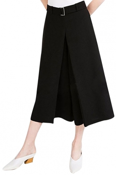 Womens Casual Wide Legs Cropped Pants Black