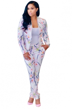 Womens Classic Printed Slimming Two Pieces Suit Pink