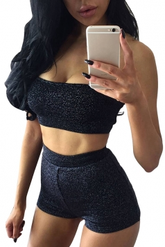 Womens Sexy Bandeau Top&High Waist Short Suit Black