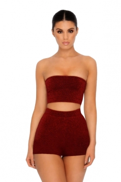 Womens Sexy Bandeau Top&High Waist Short Suit Ruby