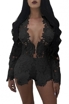 Womens Sexy Lace Cut Out Long Sleeve Coat&High Waist Short Suit Black