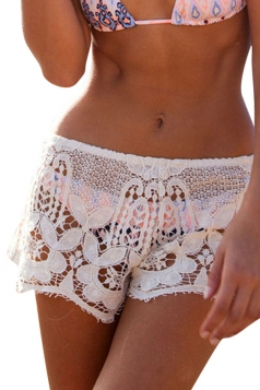 Womens Sexy Lace Cut Out See Through Shorts White