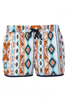 Womens Geometrical Printed Draw String Shorts Turquoise