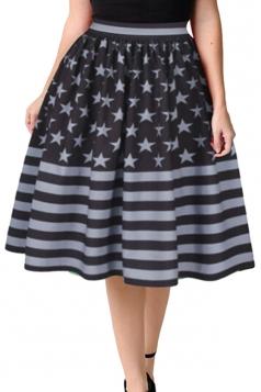 Womens Fashion Stars&Stripes Printed Bubble Midi Skirt Gray