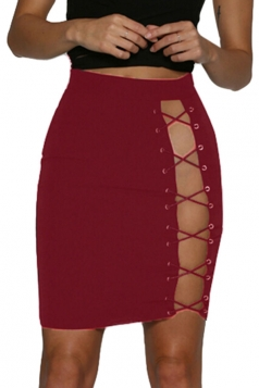 Womens Sexy Fitting Lace-Up Pencil Skirt Ruby