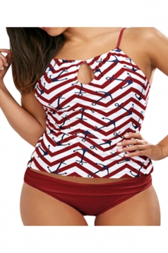 Womens Sexy Straps Printed Hollow Out Two Pieces Tankini Red