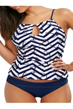 Womens Sexy Straps Printed Hollow Out Two Pieces Tankini Navy Blue