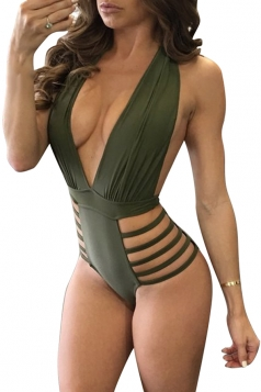 Womens Deep V-Neck Halter Backless Hollow Out Hip Monokini Army Green