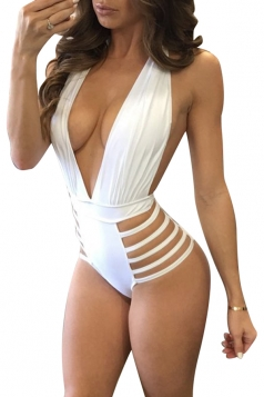 Womens Deep V-Neck Halter Backless Hollow Out Hip Monokini White