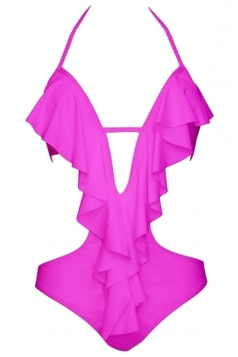Womens Sexy Halter Ruffle Backless Cut Out One Piece Swimwear Ruby