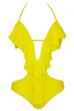 Womens Sexy Halter Ruffle Backless Cut Out One Piece Swimwear Yellow