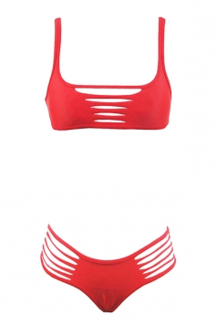 Womens Sexy Hollow Out Straps Two-pieces Swimwear Red