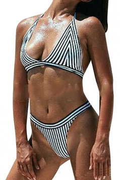 Womens Sexy Halter Stripes Padded Two Pieces Bikini Black